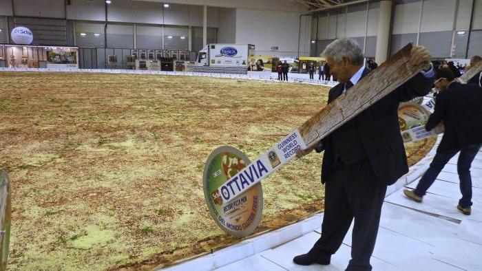 Италия. Самая большая пицца, диаметр 43 метра, вес 9 тонн